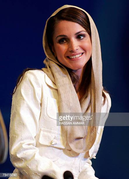 Queen Rania of Jordan arrives for a session of the Jeddah Economic Forum in the Red Sea city of Jeddah 25 February 2007 The annual event which bills...