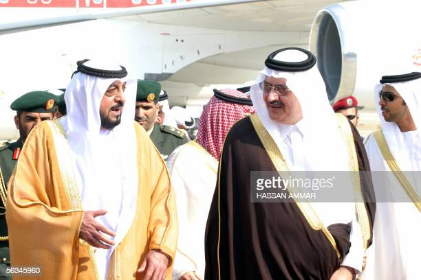 UAE President Sheikh Khalifa bin Zayed is greeted by Saudi Prince Abdulmajid bin Abdul Aziz upon his arrival at the airport of the Red Sea port city...