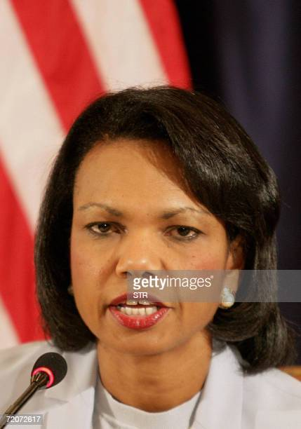 US Secretary of State Condoleezza Rice speaks during a press conference in Jeddah 03 October 2006 Rice called today for the Hamasled Palestinian...