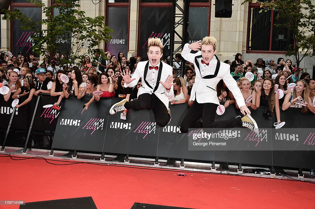 Jedward arrives at the 2013 MuchMusic Video Awards at MuchMusic HQ on June 16, 2013 in Toronto, Canada.
