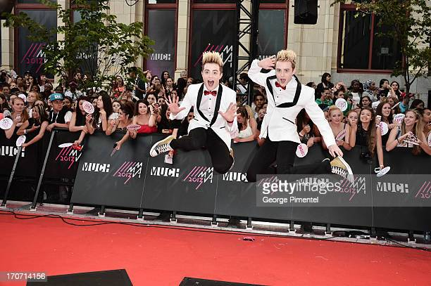 Jedward arrives at the 2013 MuchMusic Video Awards at MuchMusic HQ on June 16 2013 in Toronto Canada