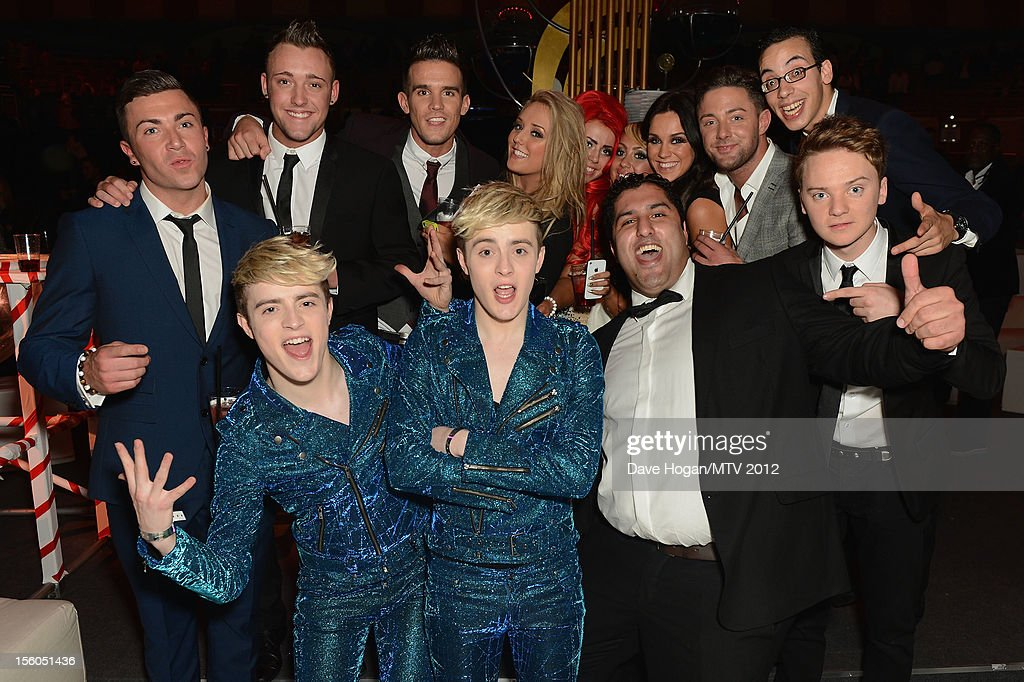 <a gi-track='captionPersonalityLinkClicked' href=/galleries/search?phrase=Jedward&family=editorial&specificpeople=9447412 ng-click='$event.stopPropagation()'>Jedward</a>, Gaz Beadle, Charlotte-Letitia Crosby, Sophie Kasaei, Ricci Guarnaccio, Holly Hagan, Scott Timlin, Vicky Pattison, and James Tindale of Geordie Shore and Conor Maynard in the VIP Glamour area at the MTV EMA's 2012 at Festhalle Frankfurt on November 11, 2012 in Frankfurt am Main, Germany.