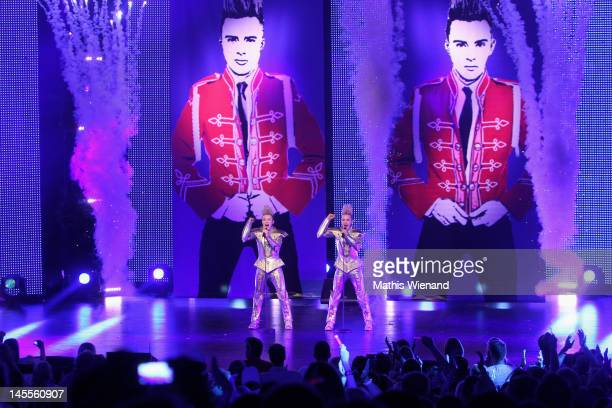 Jedward perform on stage at 'The Dome 62' at the Colosseum Theater on June 1 2012 in Essen Germany