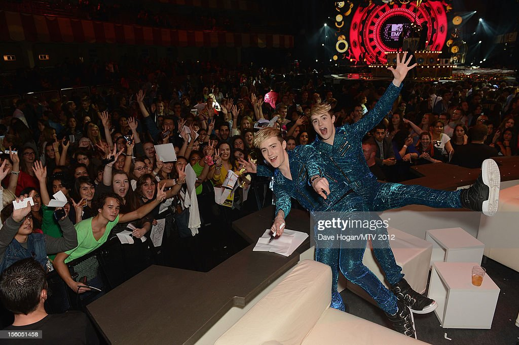 <a gi-track='captionPersonalityLinkClicked' href=/galleries/search?phrase=Jedward&family=editorial&specificpeople=9447412 ng-click='$event.stopPropagation()'>Jedward</a> poses in the VIP Glamour area at the MTV EMA's 2012 at Festhalle Frankfurt on November 11, 2012 in Frankfurt am Main, Germany.