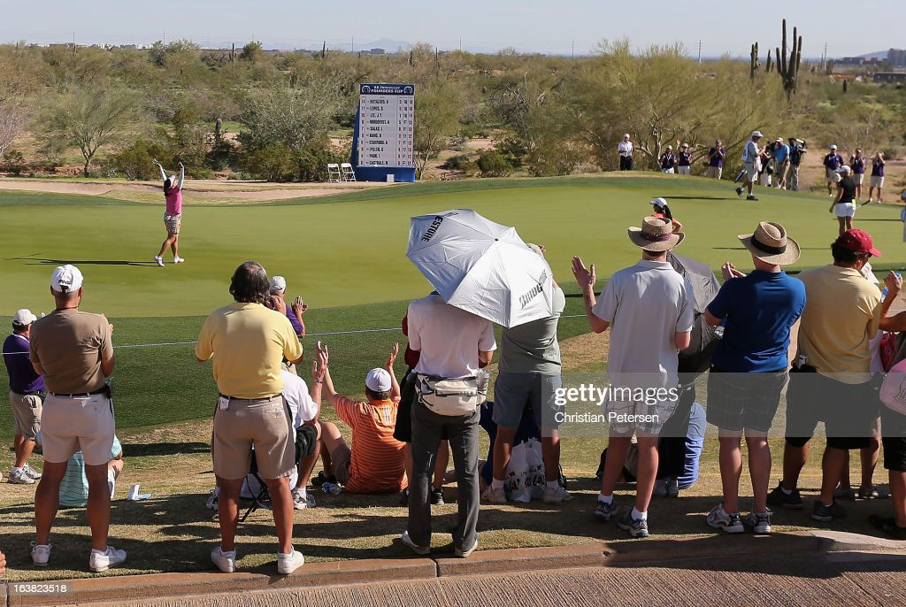 <a gi-track='captionPersonalityLinkClicked' href=/galleries/search?phrase=Jee+Young+Lee&family=editorial&specificpeople=675983 ng-click='$event.stopPropagation()'>Jee Young Lee</a> of South Korea reacts to a birdie putt on the 17th hole green during the third round of the RR Donnelley LPGA Founders Cup at Wildfire Golf Club on March 16, 2013 in Phoenix, Arizona.