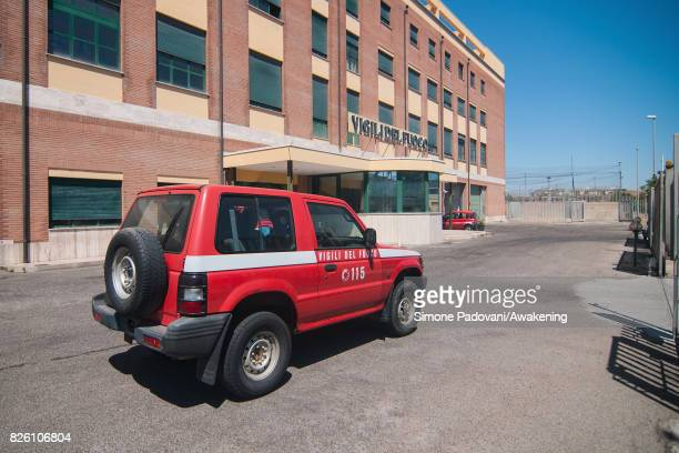 A jeep of the firemen station of the province run to the National Park of Sila to patrol the area on August 03 2017 in Crotone Italy An intense...