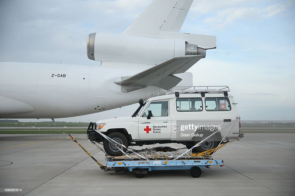A 4X4 jeep of the German Red Cross part of a 25ton shipment of tents generators airconditioning units chlorine for disinfection and other supplies...