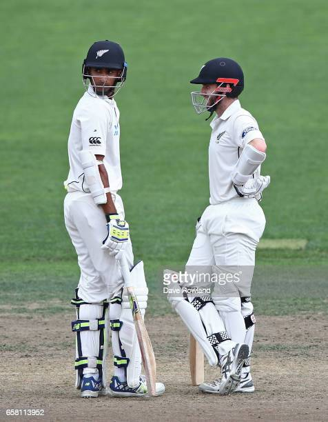 Jeet Raval and Captain Kane Williamson of New Zealand bat during day three of the Test match between New Zealand and South Africa at Seddon Park on...