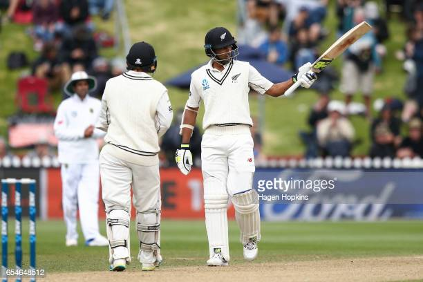 Jeet Raval of New Zealand acknowledges his half century during day three of the test match between New Zealand and South Africa at Basin Reserve on...