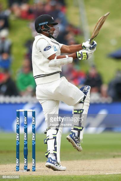 Jeet Raval of New Zealand bats during day three of the test match between New Zealand and South Africa at Basin Reserve on March 18 2017 in...