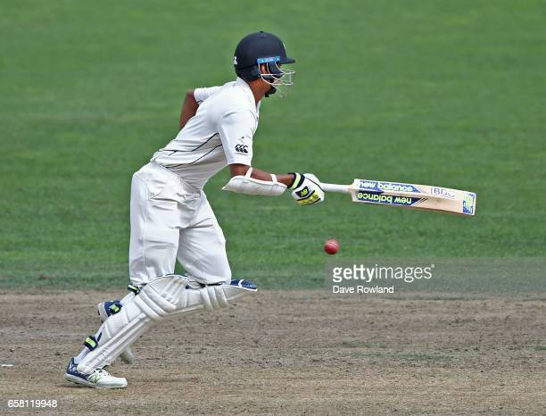 Jeet Raval of New Zealand bats during day three of the Test match between New Zealand and South Africa at Seddon Park on March 27 2017 in Hamilton...