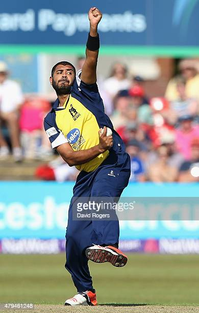 Jeetan Patel of Birmingham Bears bowls during the Natwest T20 Blast match between Leicestershire Foxes and Birmingham Bears at Grace Road on July 4...