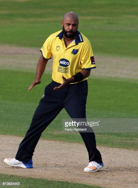 Jeetan Patel of Birmingham Bears celebrates the wicket of Alex Hales of Notts Outlaws during the Natwest T20 Blast match between Birmingham Bears and...