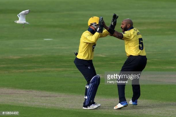 Jeetan Patel of Birmingham Bears celebrates the wicket of Riki Wessels of Notts Outlaws during the Natwest T20 Blast match between Birmingham Bears...