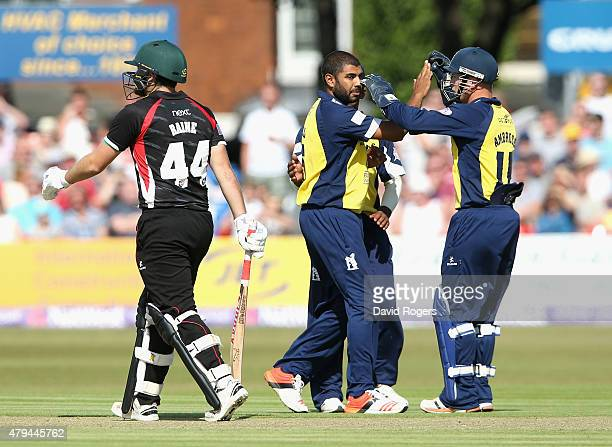 Jeetan Patel of Birmingham Bears celebrates with team mates after bowling Ben Raine during the Natwest T20 Blast match between Leicestershire Foxes...