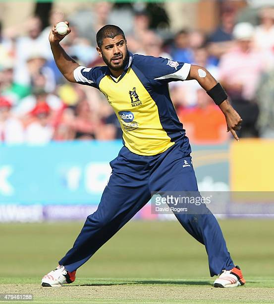 Jeetan Patel of Birmingham Bears throws the ball during the Natwest T20 Blast match between Leicestershire Foxes and Birmingham Bears at Grace Road...