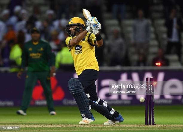 Jeetan Patel of Birmingham is bowled by Jake Ball of Notts during the NatWest T20 Blast Final between Birmingham Bears and Notts Outlaws at Edgbaston...