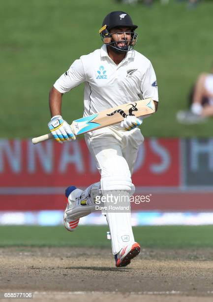 Jeetan Patel of New Zealand bats during day four of the Test match between New Zealand and South Africa at Seddon Park on March 28 2017 in Hamilton...