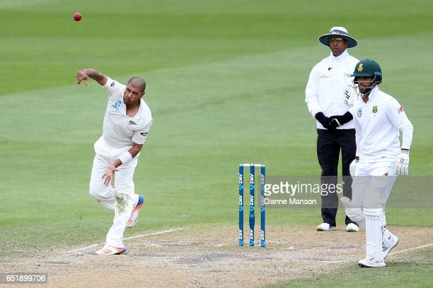 Jeetan Patel of New Zealand bowls during day four of the First Test match between New Zealand and South Africa at University Oval on March 11 2017 in...