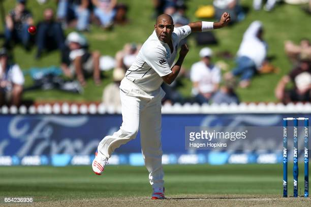 Jeetan Patel of New Zealand bowls during day two of the test match between New Zealand and South Africa at Basin Reserve on March 17 2017 in...