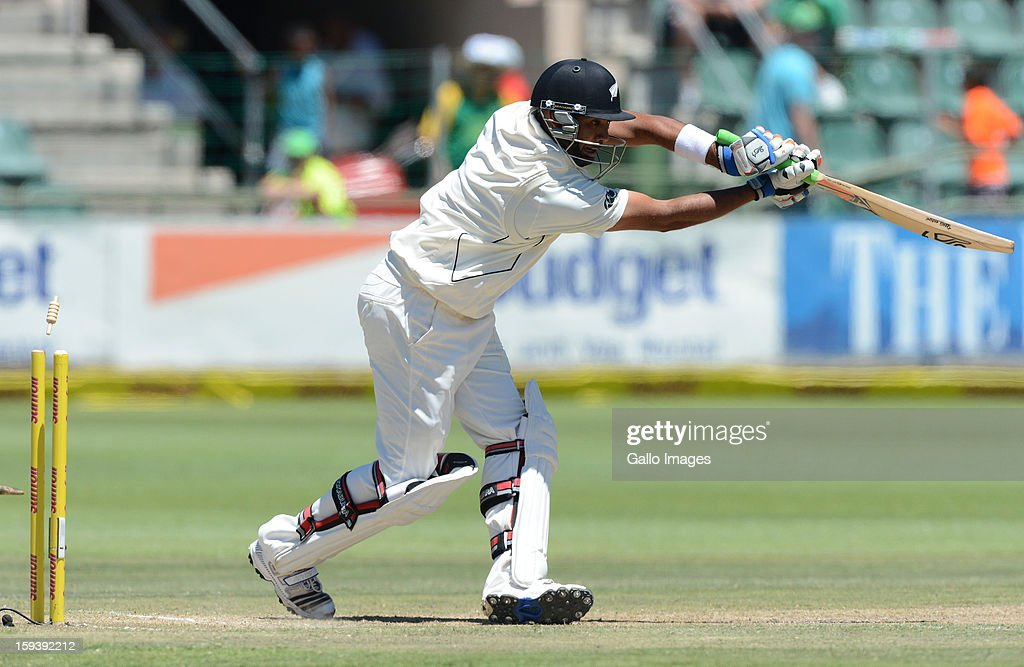 Jeetan Patel of New Zealand gets bowled during day 3 of the 2nd Test match between South Africa and New Zealand at Axxess St Georges on January 13, 2013 in Port Elizabeth, South Africa.