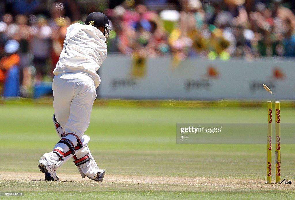 Jeetan Patel of New Zealand is bowled by Dale Steyn on the third day of the second and final test match between South Africa and New Zealand at the Axxess St George's Cricket Stadium on January 13, 2013 in Port Elizabeth. AFP Photo / Anesh Debiky