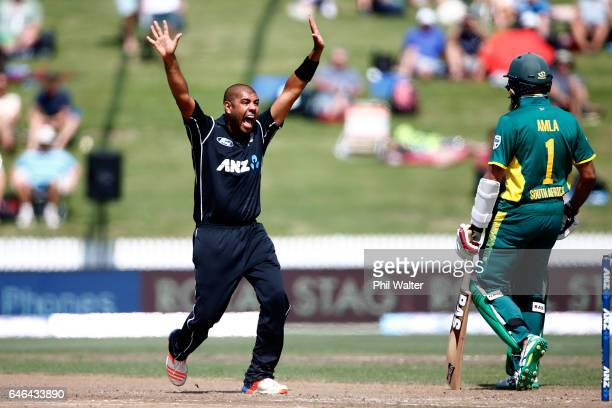 Jeetan Patel of New Zealand makes an appeal during game four of the One Day International series between New Zealand and South Africa at on March 1...