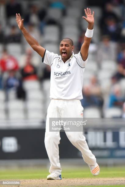 MANCHESTER ENGLAND AUGUST Jeetan Patel of Warwickshire appeals during the County Championship Division One match between Lancashire and Warwickshire...