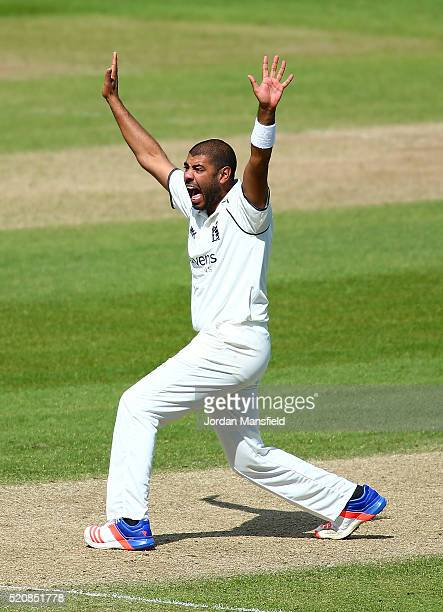 Jeetan Patel of Warwickshire appeals unsuccessfully during day four of the Specsavers County Championship Division One match between Hampshire and...