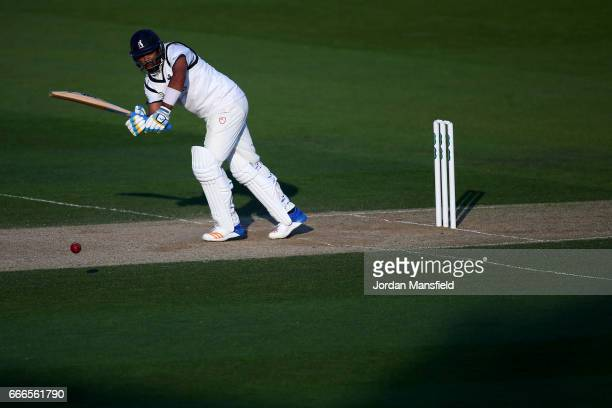 Jeetan Patel of Warwickshire bats during day three of the Specsavers County Championship Division One match between Surrey and Warwickshire at The...