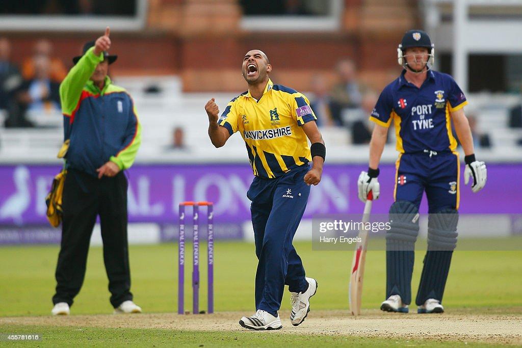 Jeetan Patel of Warwickshire celebrates dismissing Scott Borthwick of Durham during the Royal London OneDay Cup Final between Warwickshire and Durham...