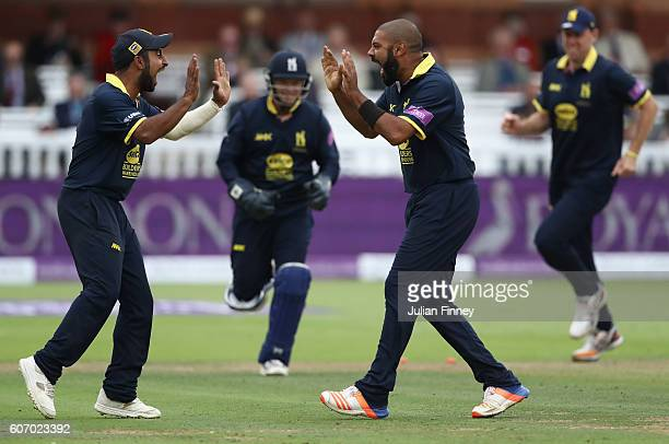 Jeetan Patel of Warwickshire celebrates taking the wicket of Rory Burns of Surrey during the Royal London oneday cup final between Warwickshire and...