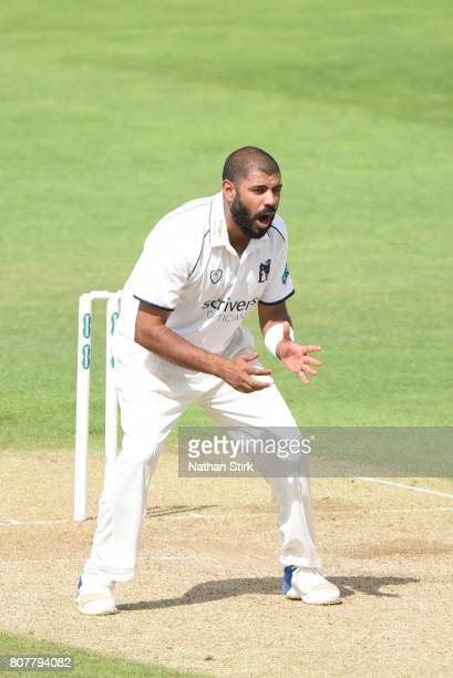 Jeetan Patel of Warwickshire looks on during the Specsavers County Championship Division One match between Warwickshire and Middlesex at Edgbaston on...