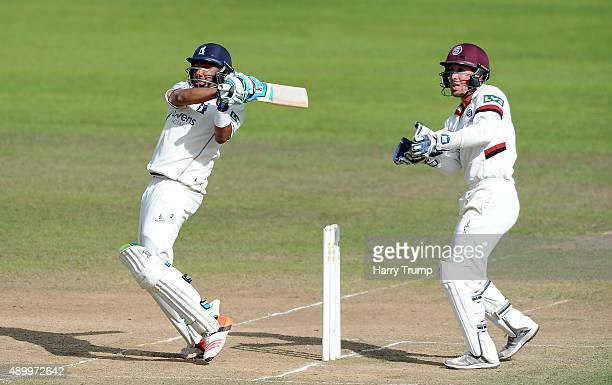 Jeetan Patel of Warwickshire pulls the ball during the LV County Championship match between Somerset and Warwickshire at the County Ground on...