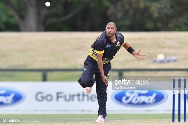 Jeetan Patel of Wellington bowling during the Ford Trophy match between Canterbury and Wellington on February 8 2017 in Christchurch New Zealand