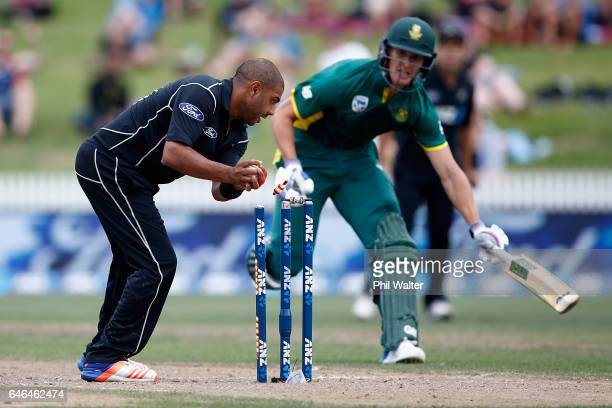 Jeetan Patel runs out Dwaine Pretorius of South Africa during game four of the One Day International series between New Zealand and South Africa at...