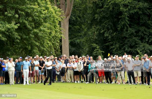 Jeev Milka Singh of Indiia hits his teeshot on the 17th hole during The Open Championship Final Qualifying at Woburn Golf Club on July 4 2017 in...