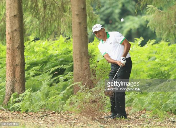 Jeev Milka Singh of Indiia plays his second shot on the 17th hole during The Open Championship Final Qualifying at Woburn Golf Club on July 4 2017 in...