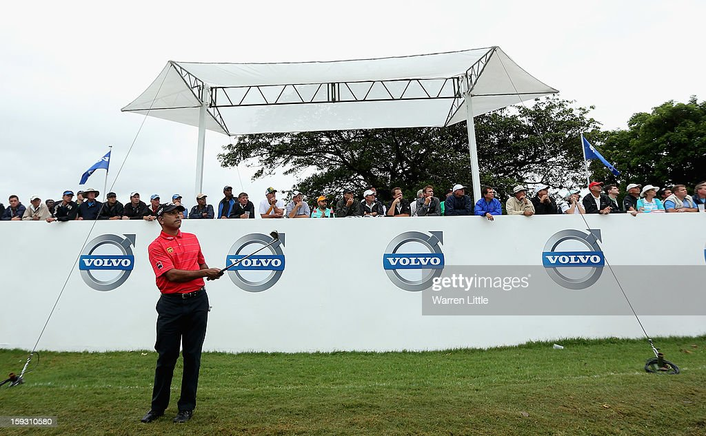 Jeev Milkha Singh of India chips onto the 13th green during the second round of the Volvo Golf Champions at Durban Country Club on January 11, 2013 in Durban, South Africa.