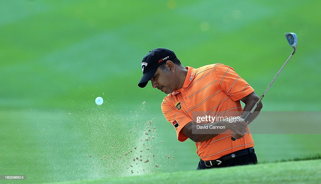 Jeev Milkha Singh of India during the final round of the 2013 Omega Dubai Desert Classic on the Majilis Course at the Emirates Golf Club on February 3, 2013 in Dubai, United Arab Emirates.