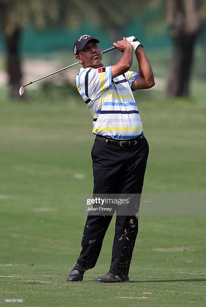 Jeev Milkha Singh of India in action during day three of the Avantha Masters at Jaypee Greens Golf Club on March 16, 2013 in Delhi, India.
