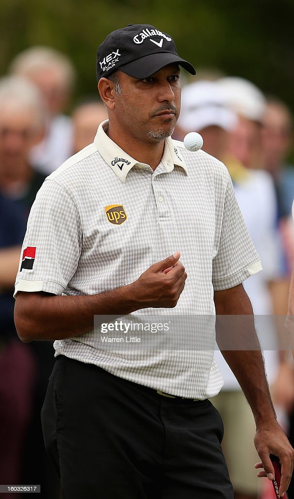 <a gi-track='captionPersonalityLinkClicked' href=/galleries/search?phrase=Jeev+Milkha+Singh&family=editorial&specificpeople=562393 ng-click='$event.stopPropagation()'>Jeev Milkha Singh</a> of India in action during the Challenge match at The Jebel Ali Hotel and Golf Resort as a preview for the Omega Dubai Desert Classic on January 29, 2013 in Dubai, United Arab Emirates.
