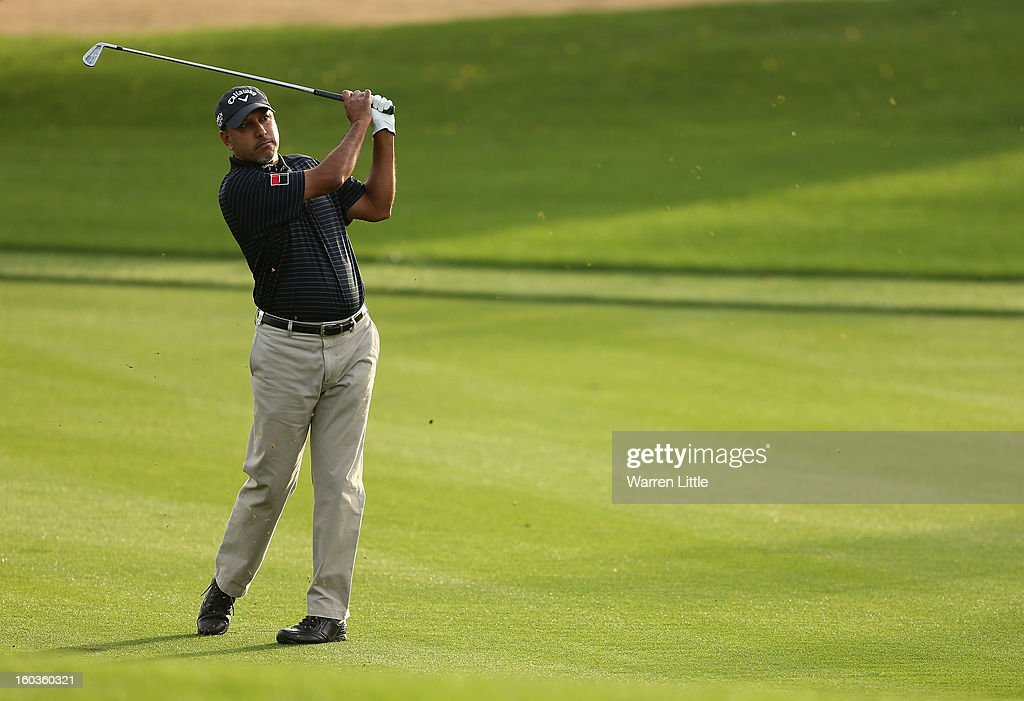 Jeev Milkha Singh of India in action during the pro-am of the Omega Dubai Desert Classic at Emirates Golf Club on January 30, 2013 in Dubai, United Arab Emirates.
