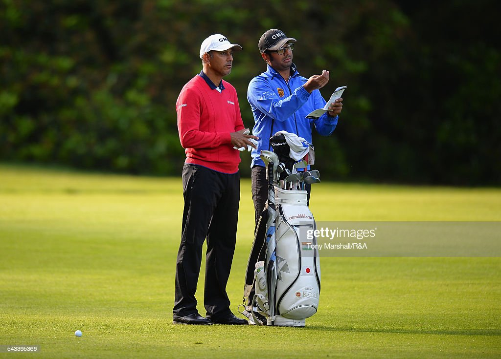 <a gi-track='captionPersonalityLinkClicked' href=/galleries/search?phrase=Jeev+Milkha+Singh&family=editorial&specificpeople=562393 ng-click='$event.stopPropagation()'>Jeev Milkha Singh</a> of India lines up his second shot on the 10th fairway during the Open Championship Qualifying - Woburn at Woburn Golf Club on June 28, 2016 in Woburn, England.