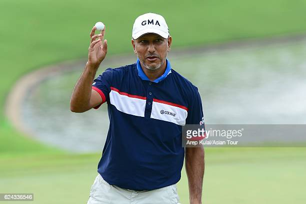 Jeev Milkha Singh of India plays a shot during round three of the BANK BRIJCB Indonesia Open at Pondok Indah Golf Course on November 19 2016 in...