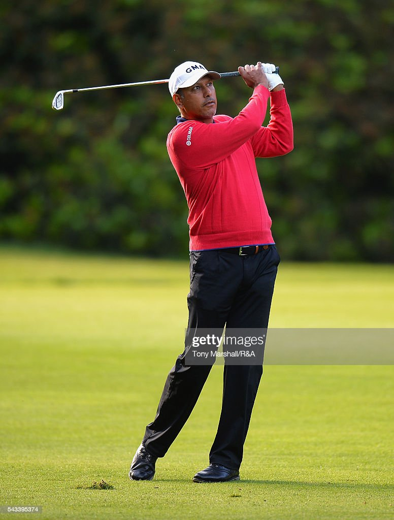 <a gi-track='captionPersonalityLinkClicked' href=/galleries/search?phrase=Jeev+Milkha+Singh&family=editorial&specificpeople=562393 ng-click='$event.stopPropagation()'>Jeev Milkha Singh</a> of India plays his second shot on the 10th fairway during the Open Championship Qualifying - Woburn at Woburn Golf Club on June 28, 2016 in Woburn, England.