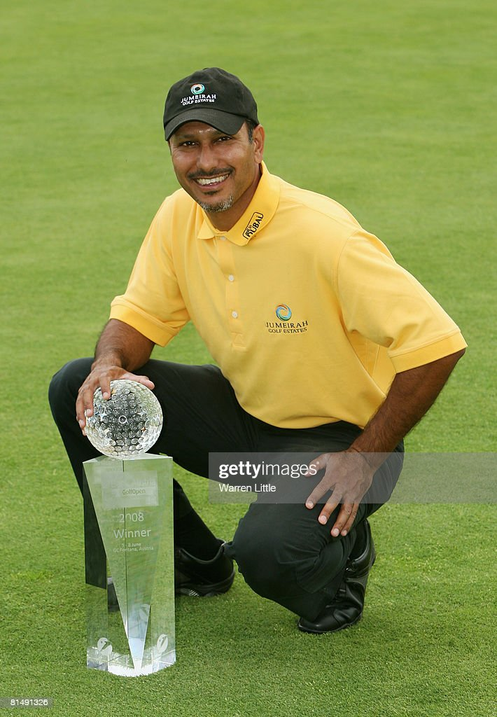 Jeev Milkha Singh of India poses with the trophy after winning the 2008 Bank Austria Golf Open presented by Telekom Austria, on a score of -15 under par at Fontana Golf Club on June 8, 2008 in Vienna, Austria.