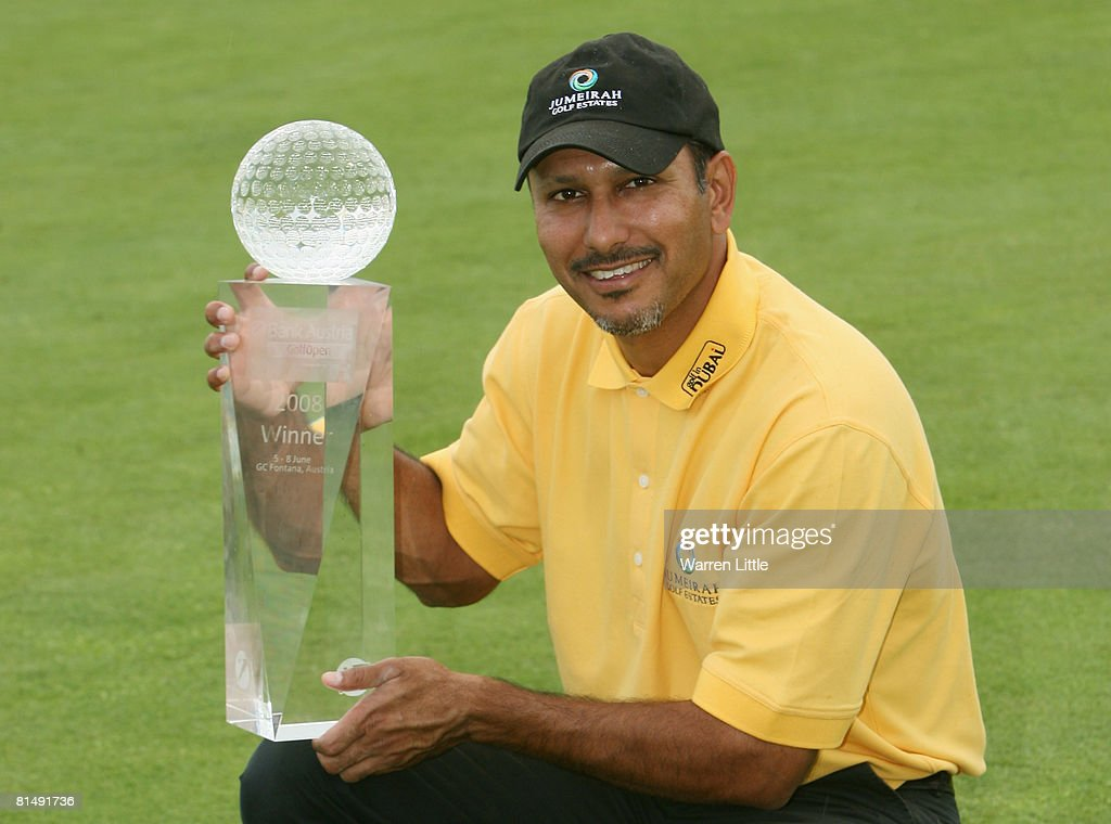 Jeev Milkha Singh of India poses with the trophy after winning the 2008 Bank Austria GolfOpen presented by Telekom Austria, on a score of -15 under par at Fontana Golf Club on June 8, 2008 in Vienna, Austria.