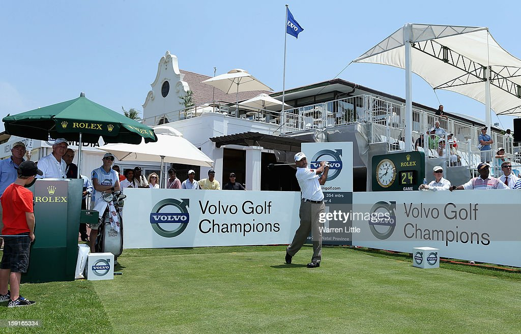 Jeev Milkha Singh of India tees off on the first hole during the Pro-Am for the Volvo Golf Champions at Durban Country Club on January 9, 2013 in Durban, South Africa.