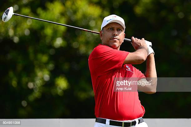 Jeev Milkha Singh Team Asia Captain in action during the ProAM Tournament ahead of Eurasia Cup 2016 presented by DRBHICOM at Glenmarie GCC on January...